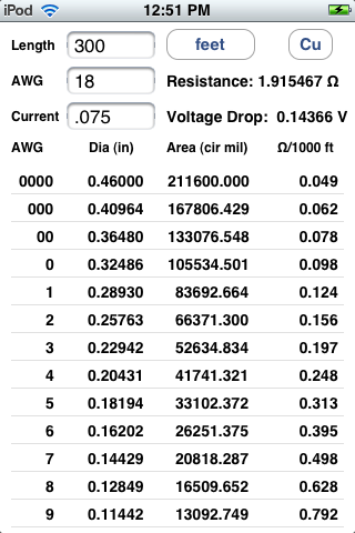 iPhone and iPad Software to Calculate Wire Resistance and Voltage Drop