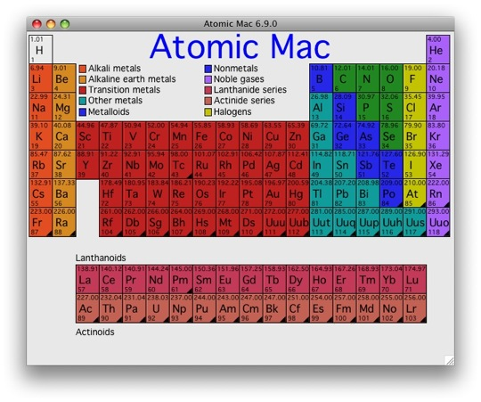 Periodic table of the elements for the macintosh and windows periodic table of the elements for the macintosh and windows periodic table software urtaz Choice Image