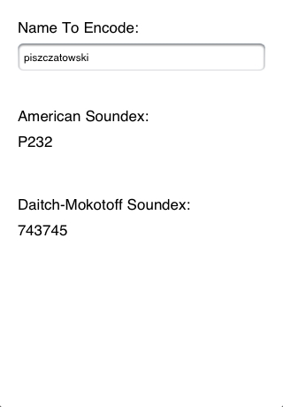 ISoundex IPhone And IPod Touch App To Generate Soundex Codes - Soundex us mapping