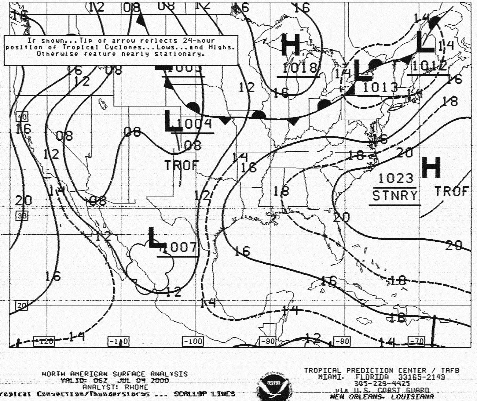 surface ysis chart from noaa nhc